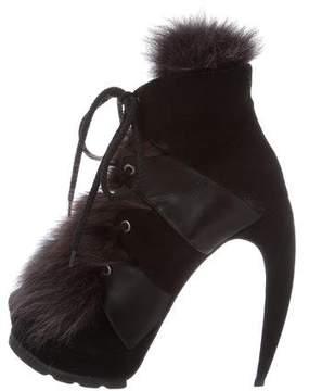 Walter Steiger Fox Fur-Trimmed Ankle Boots