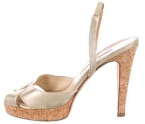 Oscar de la Renta Metallic Slingback Sandals