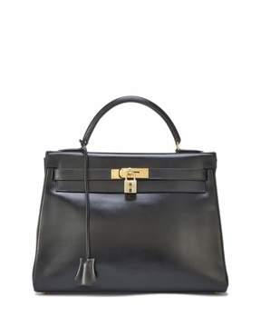 Hermes Vintage Box Kelly Leather Satchel Bag, Black - BLACK - STYLE