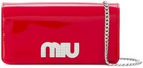 Miu Miu crystal embellished logo chain wallet