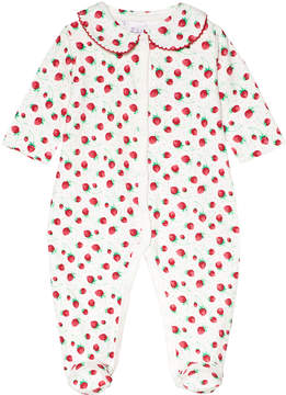 Rachel Riley White Strawberry Print Babygrow