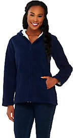 Denim & Co. Zip Front Fleece Jacket with Hood and Sherpa Lining