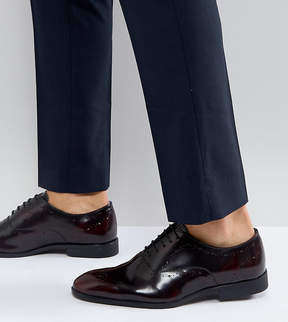 Asos Wide Fit Oxford Brogue Shoes In Burgundy Leather