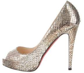 Christian Louboutin Very Prive Python Pumps
