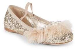Miu Miu Feather Glitter Ballet Flats