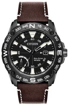 Citizen AW7045-09E Mens Eco-Drive Watch PRT Leather band
