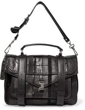 Proenza Schouler Ps1 Paneled Karung Ayers And Leather Shoulder Bag