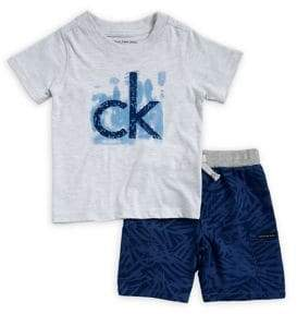 Calvin Klein Jeans Little Boy's Two-Piece Logo Tee and Printed Shorts Set