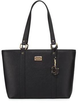 St. John Collection Faux-Leather Zip-Top Tote Bag, Black