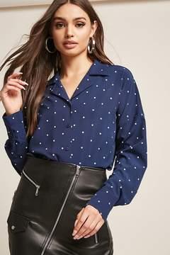 Forever 21 Polka Dot Cuban Collar Shirt