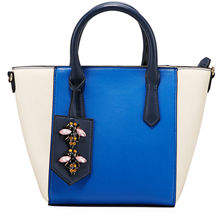 Neiman Marcus Bella Colorblock Satchel Bag with Bee Charm