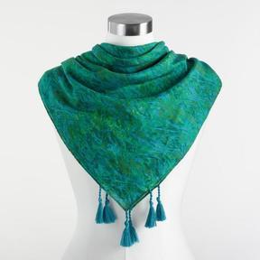 World Market Green Silk Blend Scarf