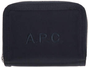 A.P.C. Navy Satin Malone Compact Wallet