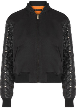 Versace - Cotton-blend And Embellished Shell Bomber Jacket - Black