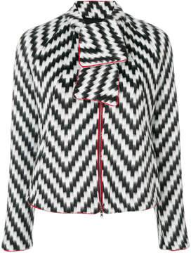 Emporio Armani zig zag print jacket with neck tie