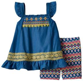 Little Lass Baby Girl Embroidered Chambray Tunic & Tribal Bike Shorts Set