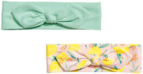 H&M 2-pack jersey hairbands - Pink
