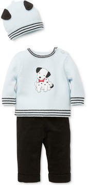 Little Me 3-Pc. Cotton Hat, Dalmatian Sweater & Pants Set, Baby Boys (0-24 months)