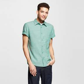 Mossimo Men's Short Sleeve Button Down Shirt Slub Broadcloth