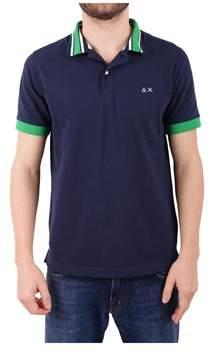 Sun 68 Men's Blue Cotton Polo Shirt.