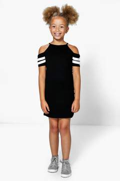 boohoo Girls Stripe Cold Shoulder Sports Dress