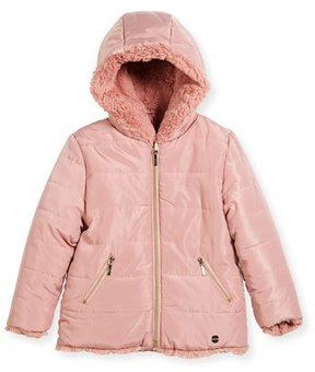 Mayoral Reversible Faux-Fur Hooded Jacket, Size 3-7