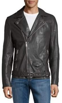 Scotch & Soda Leather Full-Zip Biker Jacket
