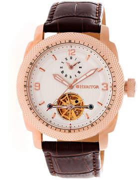 Heritor Helmsley Mens Brown Strap Watch-Herhr5008