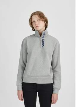 Courreges Zipped Neck Logo Sweatshirt Grey & Blue