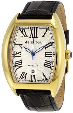 Heritor Redmond Silver Dial Black Leather Men's Watch