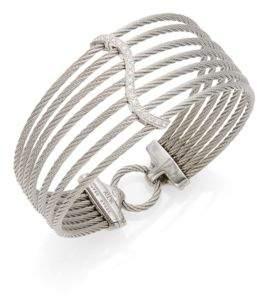 Alor Diamond, Stainless Steel & 18K White Gold Layer Cuff Bracelet