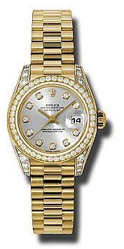 Rolex Lady-Datejust 26 Silver Dial 18K Yellow Gold President Automatic Ladies Watch