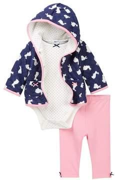 Little Me Bunny Hoodie, Dotted Bodysuit, & Leggings Set (Baby Girls)