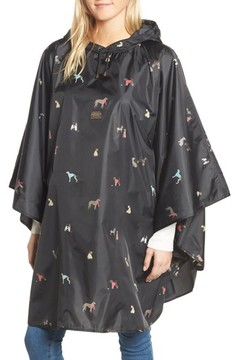Joules Women's Right As Rain Print Packable Hooded Poncho
