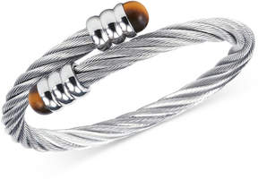 Charriol Women's Celtic Tiger Eye-Accent Stainless Steel Cable Bangle Bracelet