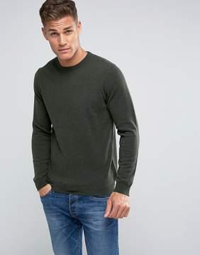 Benetton 100% Merino Sweater In Khaki