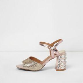 River Island Womens Rose gold gem embellished block heel sandals