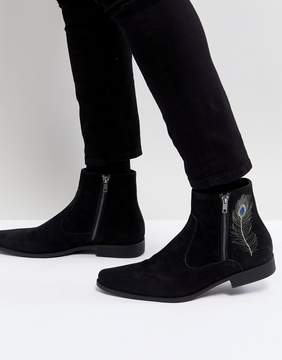 Asos Chelsea Boots In Black Faux Suede With Embroidery Detail