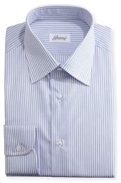 Brioni Striped Dress Shirt, Navy/White