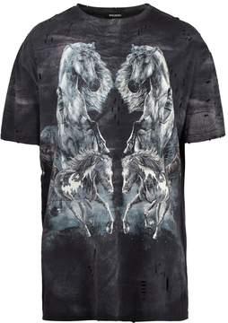 Balmain Horse-print distressed T-shirt