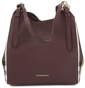 Burberry Mahogany Red Leather and House Check Small Canter Tote Bag - ONE COLOR - STYLE