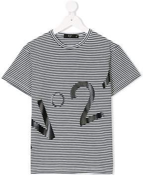 No.21 Kids striped printed T-shirt