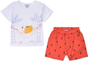 Absorba White Fruit Holiday Print T-Shirt and Shorts Set