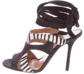 Alexa Wagner Snakeskin-Trimmed Lace-Up Sandals