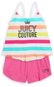 Juicy Couture Girl's Two-Piece Striped Top and Shorts Set