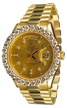 Rolex 18K Mens Yellow Gold Presidential Day-Date 36mm Prong Diamond Watch