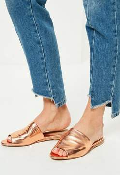Missguided Rose Gold Peep Toe Slip On Mules