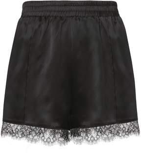 Fleur Du Mal Margot Lace Trim Silk Shorts