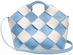 Loewe Gingham suede and leather Anagram bag
