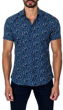 Jared Lang Woven Butterfly Print Trim Fit Shirt
